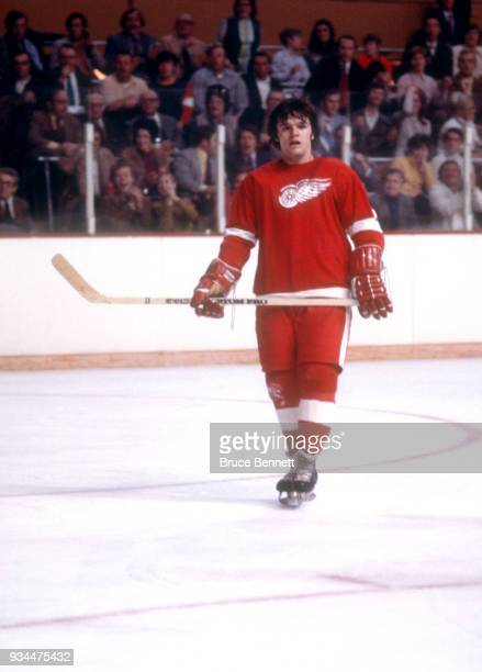 Marcel Dionne of the Detroit Red Wings skates on the ice during an NHL game circa December 1972