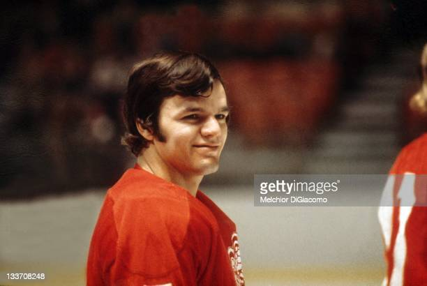 Marcel Dionne of the Detroit Red Wings smiles during an NHL game circa 1973.