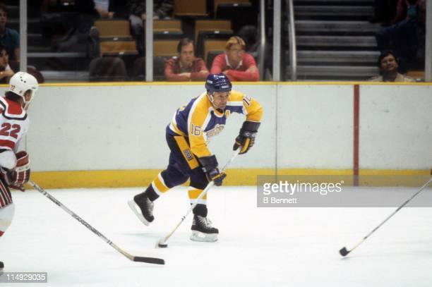 Marcel Dionne of the Los Angeles Kings looks to shoot during an NHL game against the New Jersey Devils on February 21, 1985 at the Brendan Byrne...