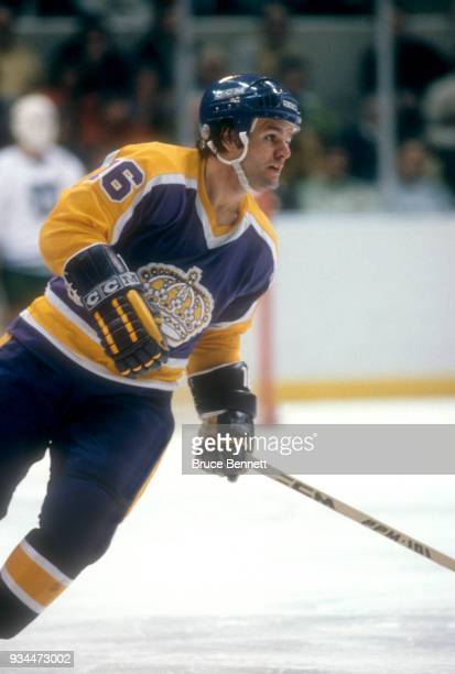 Marcel Dionne of the Los Angeles Kings skates on ice during an NHL game against the Hartford Whalers on January 14 1981 at the Hartford Civic Center...
