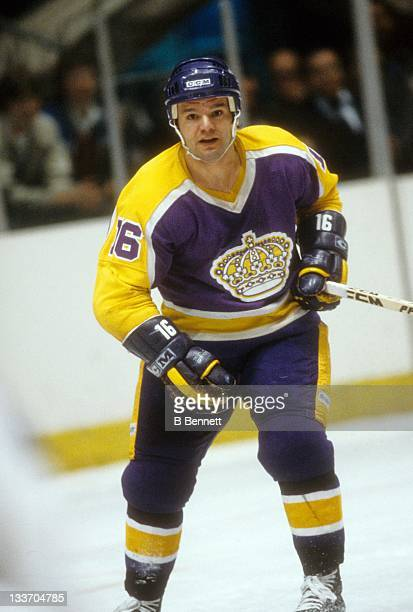 Marcel Dionne of the Los Angeles Kings skates on the ice during a 1981 Preliminary Round playoff game against the New York Rangers in April, 1981 at...