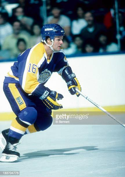 Marcel Dionne of the Los Angeles Kings skates on the ice during an NHL game against the New York Islanders on October 20, 1984 at the Nassau Coliseum...