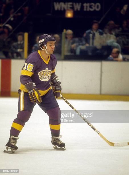 Marcel Dionne of the Los Angeles Kings skates on the ice during an NHL game against the New York Rangers circa 1977 at the Madison Square Garden in...