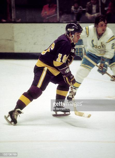 Marcel Dionne of the Los Angeles Kings skates on the ice during an NHL game against the California Golden Seals circa 1976 at the Oakland Coliseum...