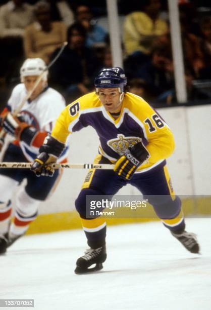 Marcel Dionne of the Los Angeles Kings skates on the ice during an NHL game against the New York Islanders on October 20, 1981 at the Nassau Coliseum...