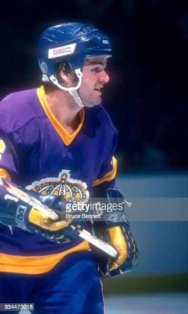 Marcel Dionne of the Los Angeles Kings skates on the ice during an NHL game against the New York Islanders circa 1979 at the Nassau Coliseum in...