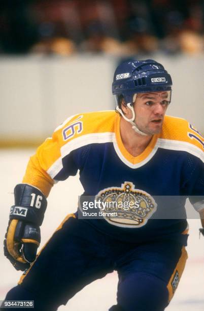 Marcel Dionne of the Los Angeles Kings skates on the ice during an NHL game against the New York Rangers on October 17 1982 at Madison Square Garden...