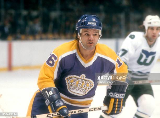 Marcel Dionne of the Los Angeles Kings skates on the ice during an NHL game against the Hartford Whalers on January 14 1981 at the Hartford Civic...