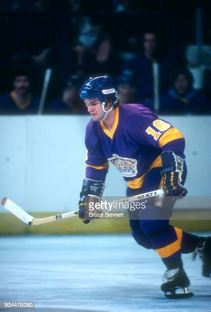 Marcel Dionne of the Los Angeles Kings skates on the ice during an NHL game against the Washington Capitals on November 8 1977 at the Capital Centre...