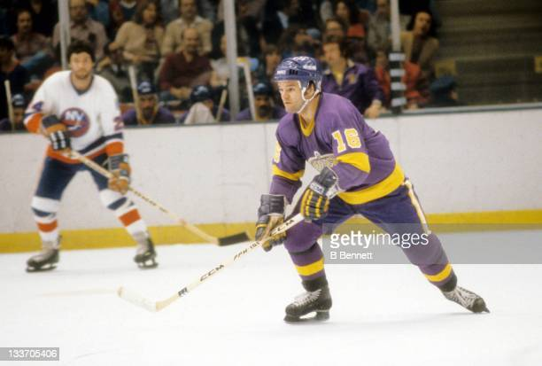 Marcel Dionne of the Los Angeles Kings skates on the ice during the 1980 Preliminary Round playoff game against the New York Islanders in April, 1980...
