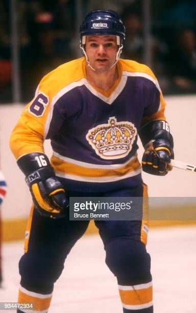Marcel Dionne of the Los Angeles Kings skates on the ice during the 1981 Preliminary Round against the New York Rangers circa April 1981 at Madison...