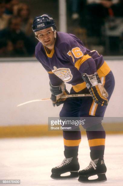 Marcel Dionne of the Los Angeles Kings skates on the ice during the 1980 Preliminary Round against the New York Islanders circa April 1980 at the...