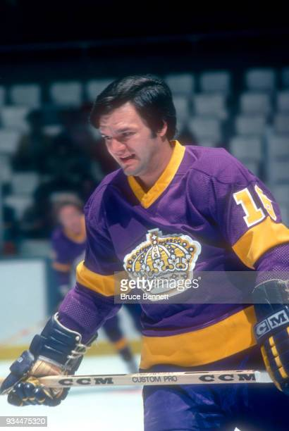 Marcel Dionne of the Los Angeles Kings skates on the ice during warmups prior to an NHL game against the New York Islanders on December 12 1978 at...