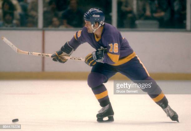 Marcel Dionne of the Los Angeles Kings skates with the puck during the 1980 Preliminary Round against the New York Islanders circa April 1980 at the...
