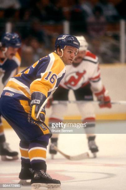 Marcel Dionne of the Los Angeles Kings waits to take the faceoff during an NHL game against the New Jersey Devils on February 14 1984 at the Brendan...