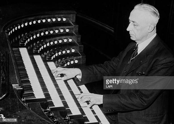 Marcel Dupre organist composer and French pedagogue at the big organs of the SaintSulpice church Paris February 1944 LAPI21822