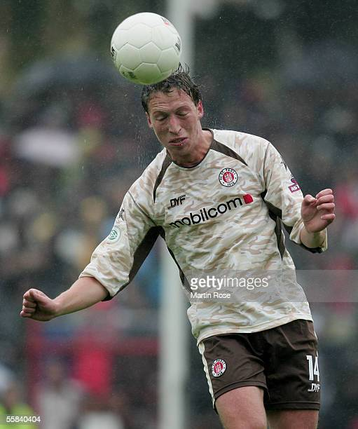 Marcel Eger of StPauli heads for the ball during the match of the Third Bundesliga between FC St Pauli and Carl Zeiss Jena at the Millerntor Stadium...
