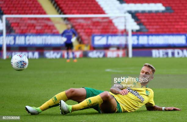 Marcel Frankie of Norwich City attempts to control the ball during the Pre Season Friendly match between Charlton Athletic and Norwich City at The...