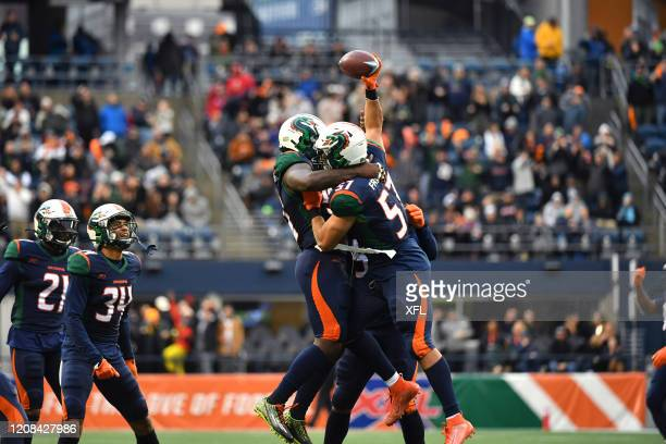 Marcel Frazier of the Seattle Dragons celebrates after recovering a fumble during the XFL game against the Dallas Renegades at CenturyLink Field on...