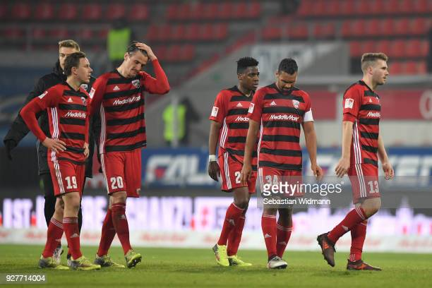 Marcel Gaus Stefan Kutschke Frederic Ananou Marvin Matip and Robert Leipertz of Ingolstadt look down after loosing the Second Bundesliga match...