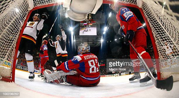 Marcel Goc of Germany celebrates after he scores his team's opening goal during the IIHF World Championship semifinal match between Russia and...