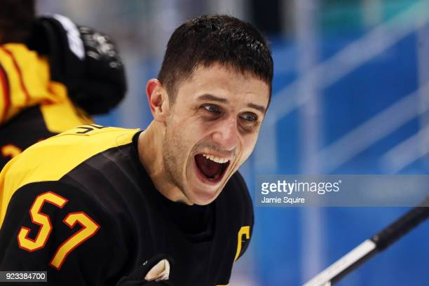Marcel Goc of Germany reacts after defeating Canada 43 during the Men's Playoffs Semifinals on day fourteen of the PyeongChang 2018 Winter Olympic...