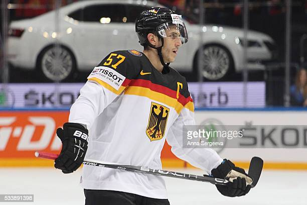 Marcel Goc of Germany skates against Russia at Ice Palace on May 19 2016 in Moscow Russia