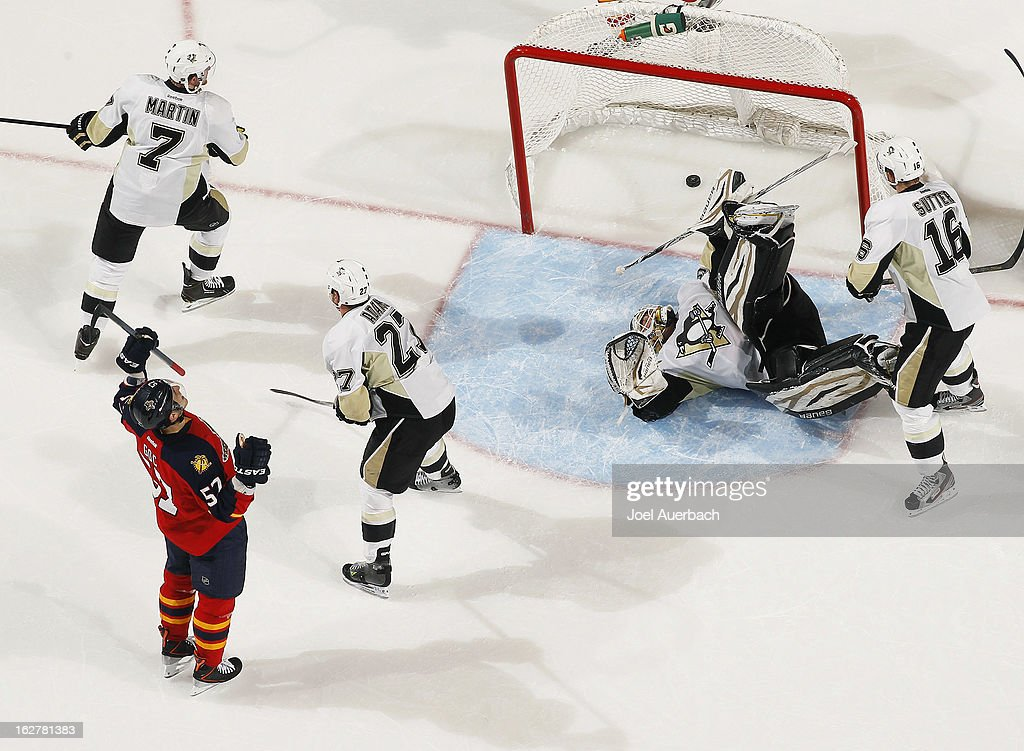 Marcel Goc #57 of the Florida Panthers celebrates his second period goal past goaltender Tomas Vokoun #92 of the Pittsburgh Penguins at the BB&T Center on February 26, 2013 in Sunrise, Florida. The Panthers defeated the Penguins 6-4.