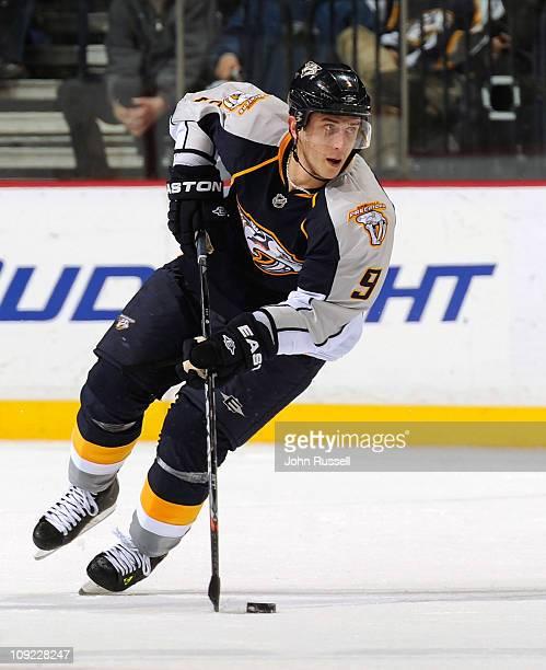 Marcel Goc of the Nashville Predators skates against the San Jose Sharks during an NHL game on February 15 2010 at Bridgestone Arena in Nashville...