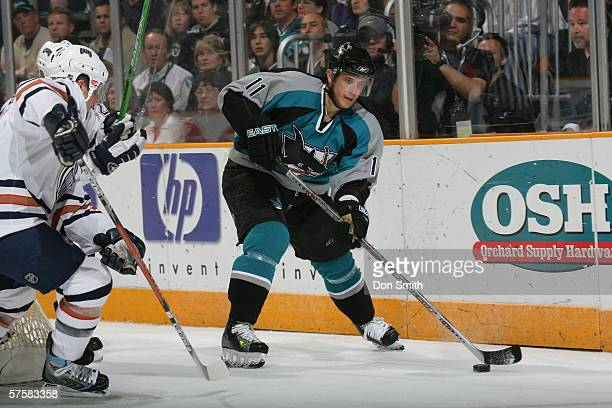 Marcel Goc of the San Jose Sharks skates with the puck during Game 2 of the Western Conference Semifinals against the Edmonton Oilers on May 8, 2006...