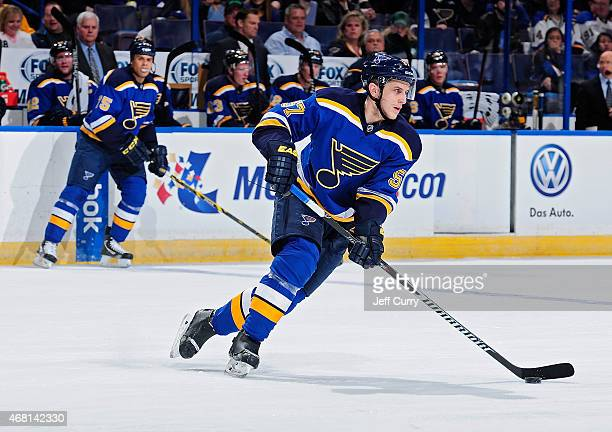 Marcel Goc of the St Louis Blues handles the puck against the Columbus Blue Jackets on March 28 2015 at Scottrade Center in St Louis Missouri