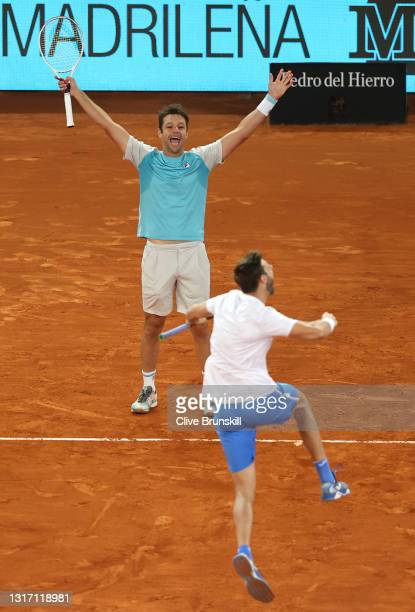 Marcel Granollers of Spain and Horacio Zeballos of Argentina celebrate after winning their Mens Doubles Final match against Nikola Mektic of Croatia...