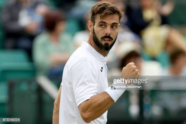 Marcel Granollers of Spain celebrates a point against Alexander Ward of Great Britain during Day five of the Nature Valley Open at Nottingham Tennis...