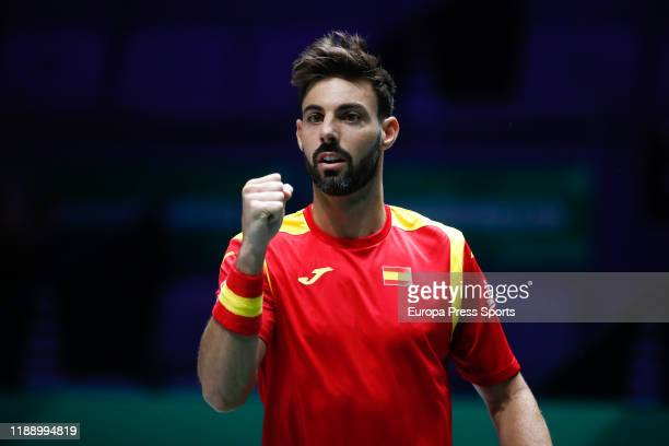 Marcel Granollers of Spain celebrates during his doubles match played with Rafael Nadal against Ivan Dodig and Mate Pavic of Croatia during the Day 3...