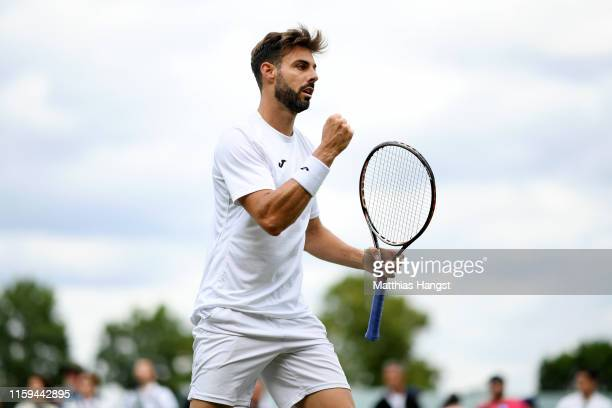 Marcel Granollers of Spain celebrates in his Men's Singles first round match against Lorenzo Sonego of Italy during Day one of The Championships -...