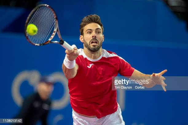 February 7: Marcel Granollers of Spain in action against Denis Shapovalov of Canada during the Open Sud de France Tennis Tournament at the Sud de...