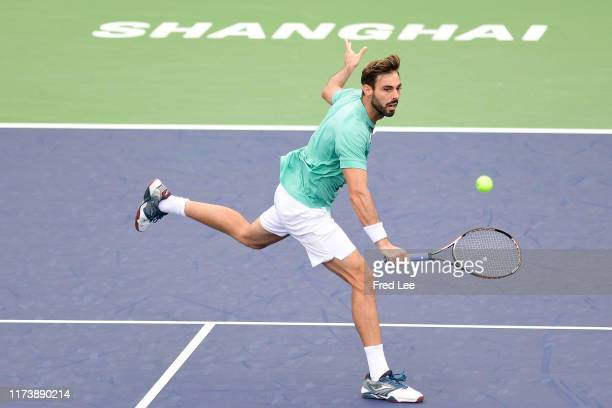Marcel Granollers of Spain in action against Vasek Pospisil of Canada during 2019 Rolex Shanghai Masters on Day 2 at Qi Zhong Tennis Centre on...