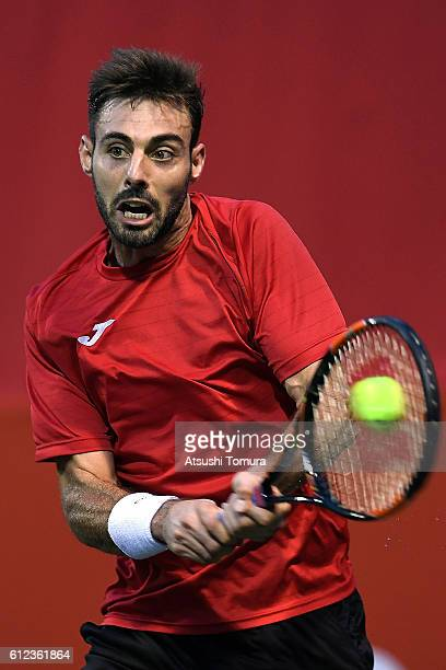 Marcel Granollers of Spain in action during the men's singles first round match against Marcos Baghdatis of Cyprus on day two of Rakuten Open 2016 at...
