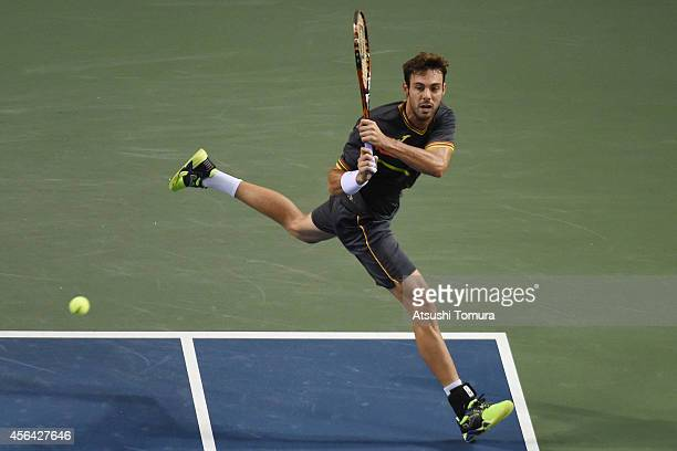 Marcel Granollers of Spain in action during the men's singles second round match against Steve Johnson of USA on day three of Rakuten Open 2014 at...
