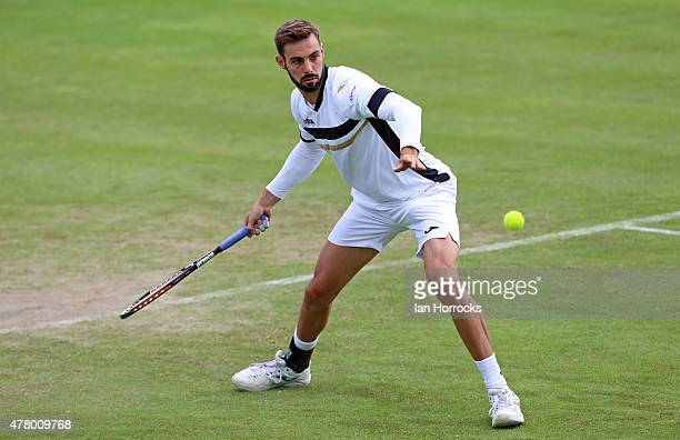 Marcel Granollers of Spain in action in his match against Vasek Pospisil of Canada during day one of the ATP Aegon Open at Nottingham Tennis Centre...