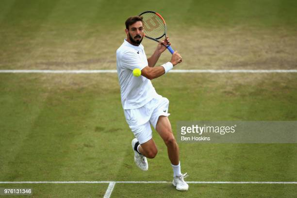 Marcel Granollers of Spain in action in the Mens Singles Semi Final during Day Eight of the Nature Valley Open at Nottingham Tennis Centre on June 16...