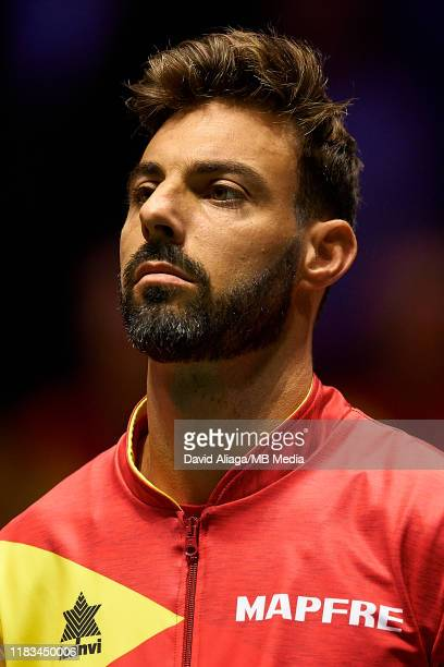 Marcel Granollers of Spain looks on prior to the match between Spain and Russia during Day two of the 2019 Davis Cup at La Caja Magica on November...