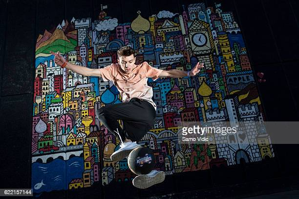 Marcel Gurk of Germany performs during the final training session of the freestyle football world championship Red Bull Street Style on November 06...