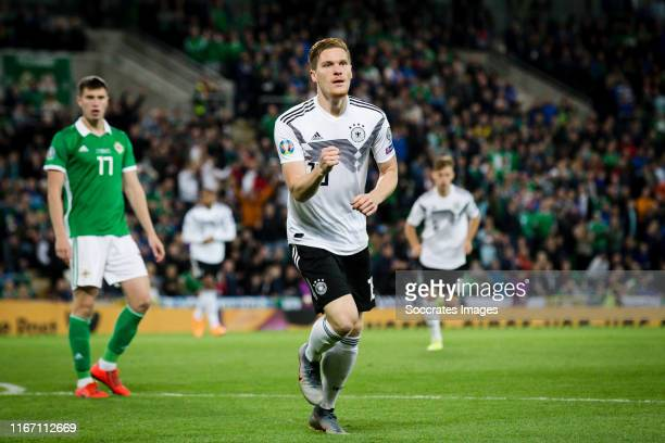 Marcel Halstenberg of Germany celebrate his goal the 01 during the EURO Qualifier match between Northern Ireland v Germany at the Windsor Park on...