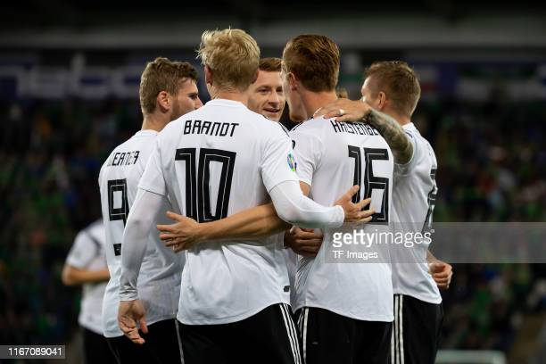 Marcel Halstenberg of Germany celebrates after scoring his team's first goal during the UEFA Euro 2020 qualifier match between Northern Ireland and...