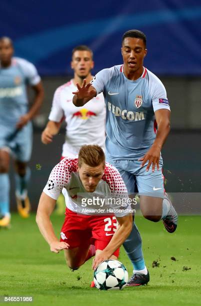 Marcel Halstenberg of Leipzig and Youri Tielemans of Monaco battle for the ball during the UEFA Champions League group G match between RB Leipzig and...