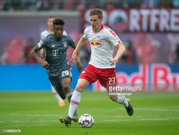 Marcel Halstenberg of Leipzig controls the ball during the Bundesliga match between RB Leipzig and FC Bayern Muenchen at Red Bull Arena on May 11...