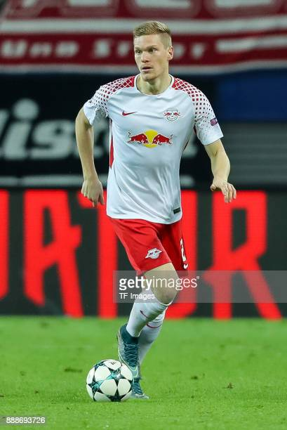 Marcel Halstenberg of Leipzig controls the ball during the UEFA Champions League group G soccer match between RB Leipzig and Besiktas at the Leipzig...