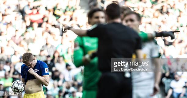 Marcel Halstenberg of Leipzig is seen prior to a penalty during the Bundesliga match between Borussia Mönchengladbach and RB Leipzig at Borussia-Park...