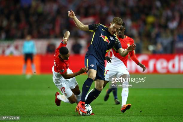Marcel Halstenberg of RB Leipzig and Youri Tielemans of AS Monaco FC battle for possession during the UEFA Champions League group G match between AS...